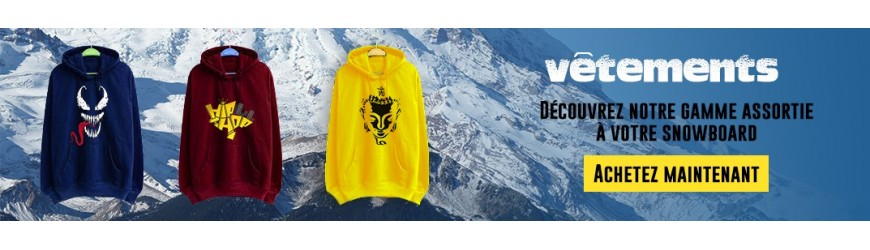T-shirts, sweaters, hoodies and accessories for men. Basics and original creations for all styles of snowboarders, our clothing line matches the snowboards we offer
